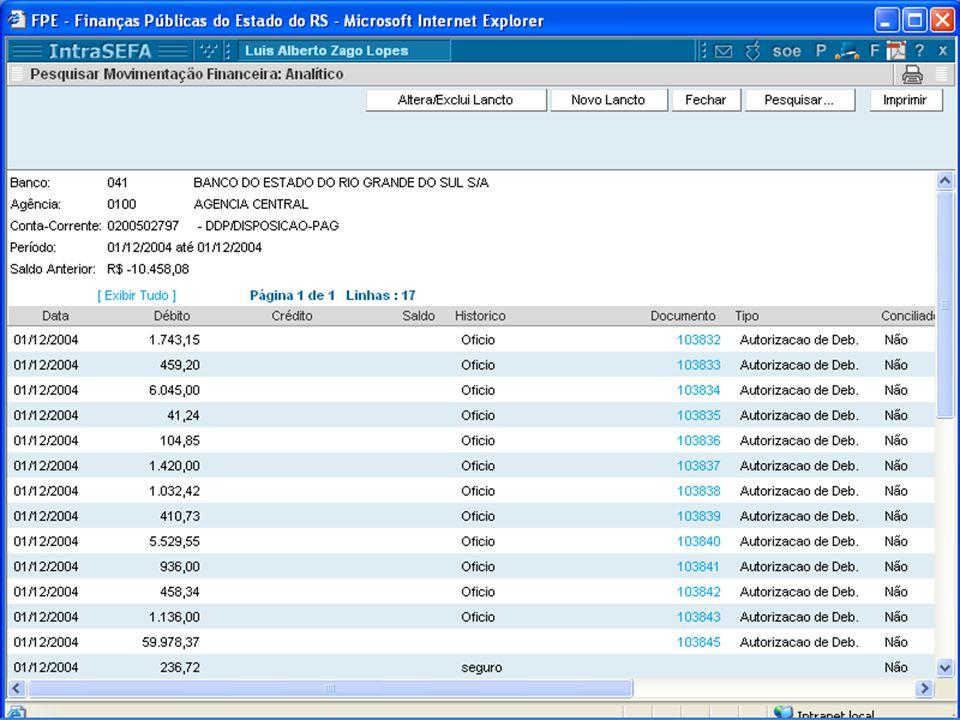 Extrato Financeiro São os lançamentos gerados automaticamente pelo sistema (AD'S, ofício, etc..) e permite lançamentos manuais para conciliação.