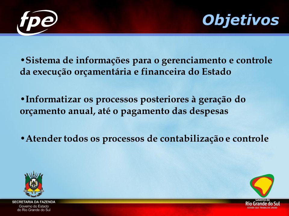 Objetivos Sistema de informações para o gerenciamento e controle da execução orçamentária e financeira do Estado.