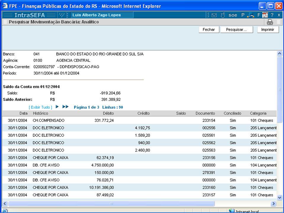 Extrato Bancário Arquivo importado do banco, com os movimentos do dia anterior