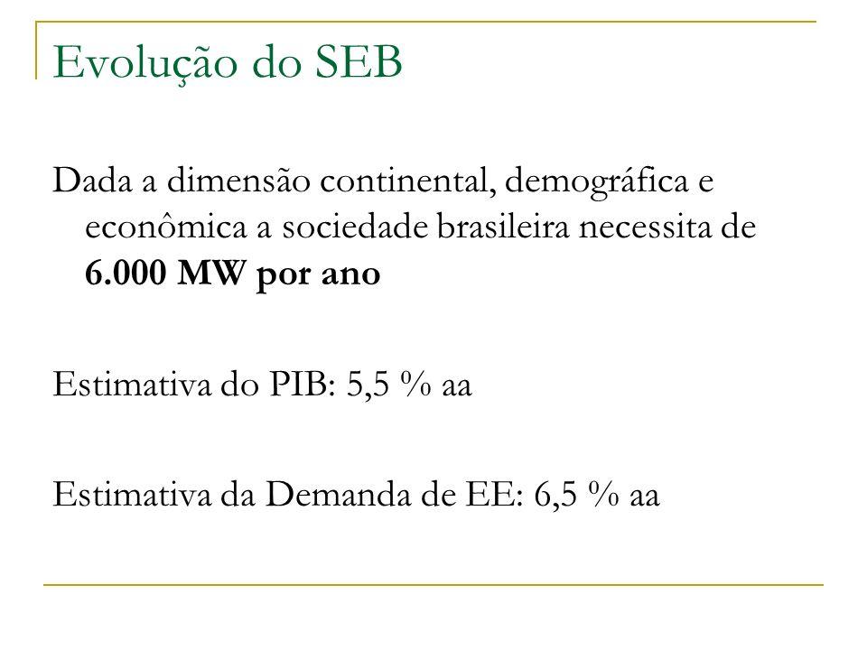 Evolução do SEB Dada a dimensão continental, demográfica e econômica a sociedade brasileira necessita de 6.000 MW por ano.