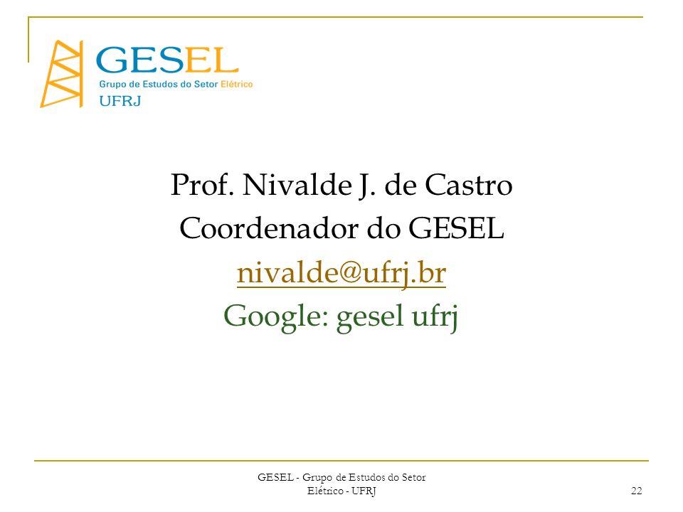 Prof. Nivalde J. de Castro Coordenador do GESEL nivalde@ufrj.br