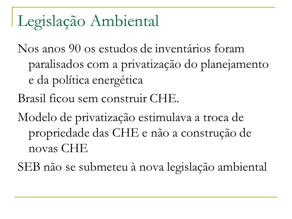 Legislação Ambiental Nos anos 90 os estudos de inventários foram paralisados com a privatização do planejamento e da política energética.