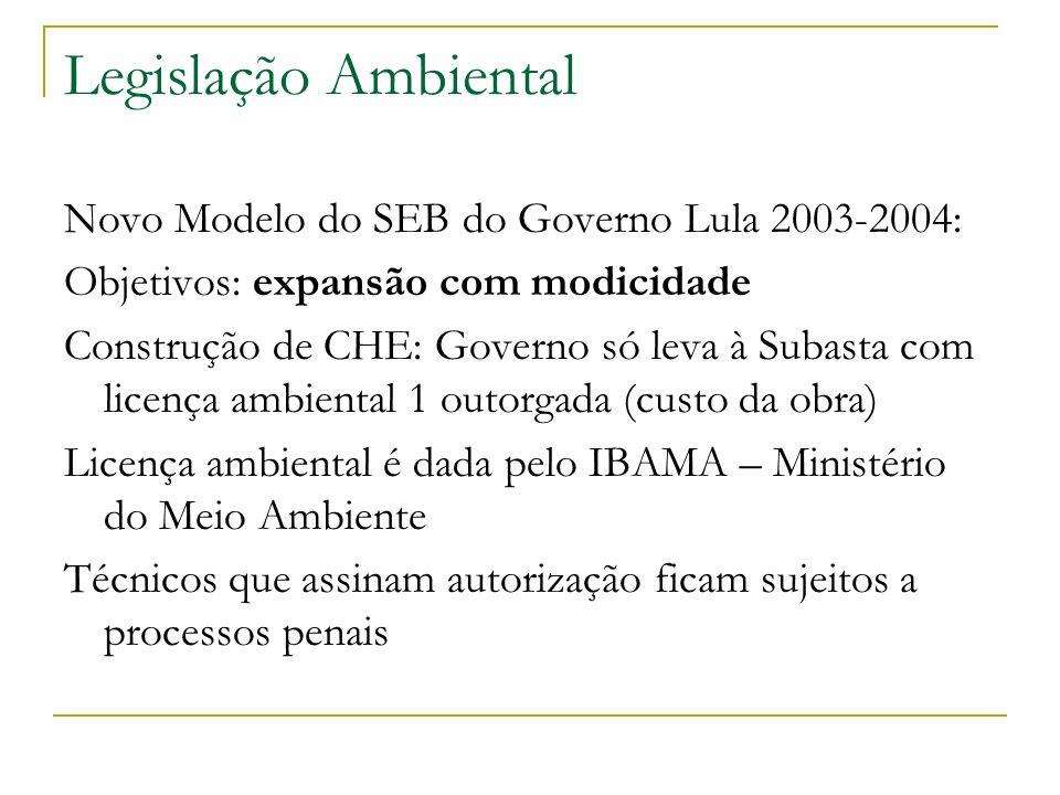 Legislação Ambiental Novo Modelo do SEB do Governo Lula 2003-2004: