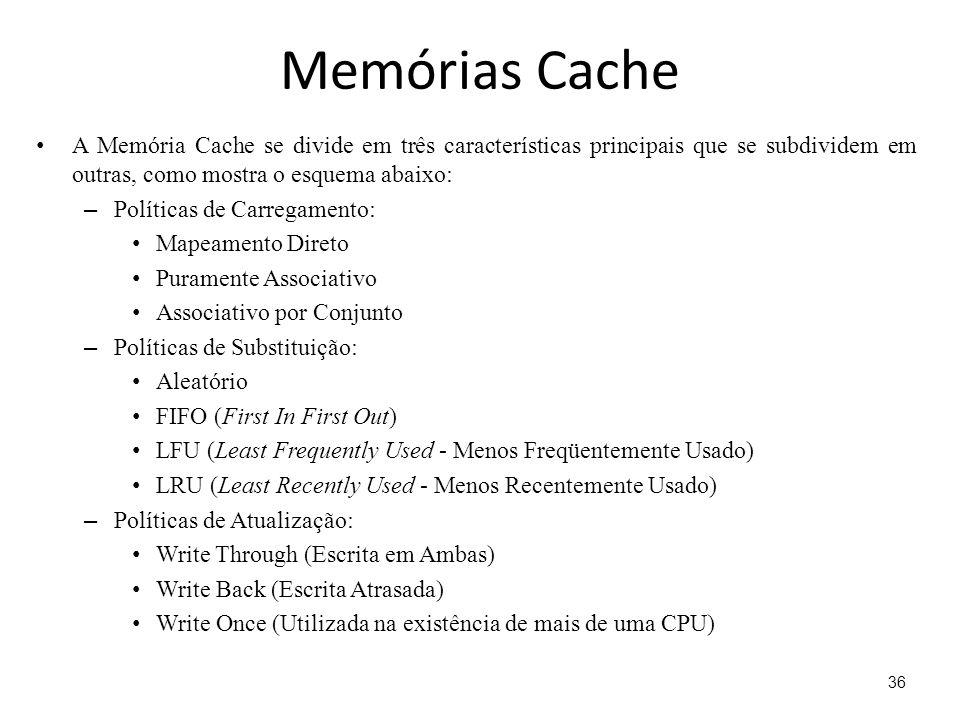 Memórias Cache A Memória Cache se divide em três características principais que se subdividem em outras, como mostra o esquema abaixo:
