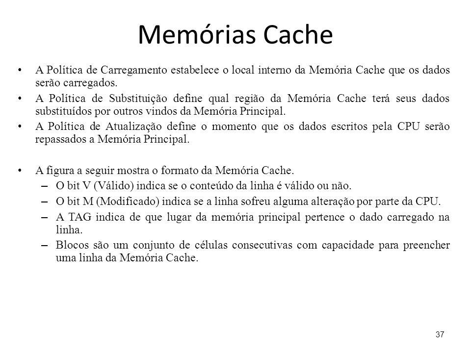 Memórias Cache A Política de Carregamento estabelece o local interno da Memória Cache que os dados serão carregados.