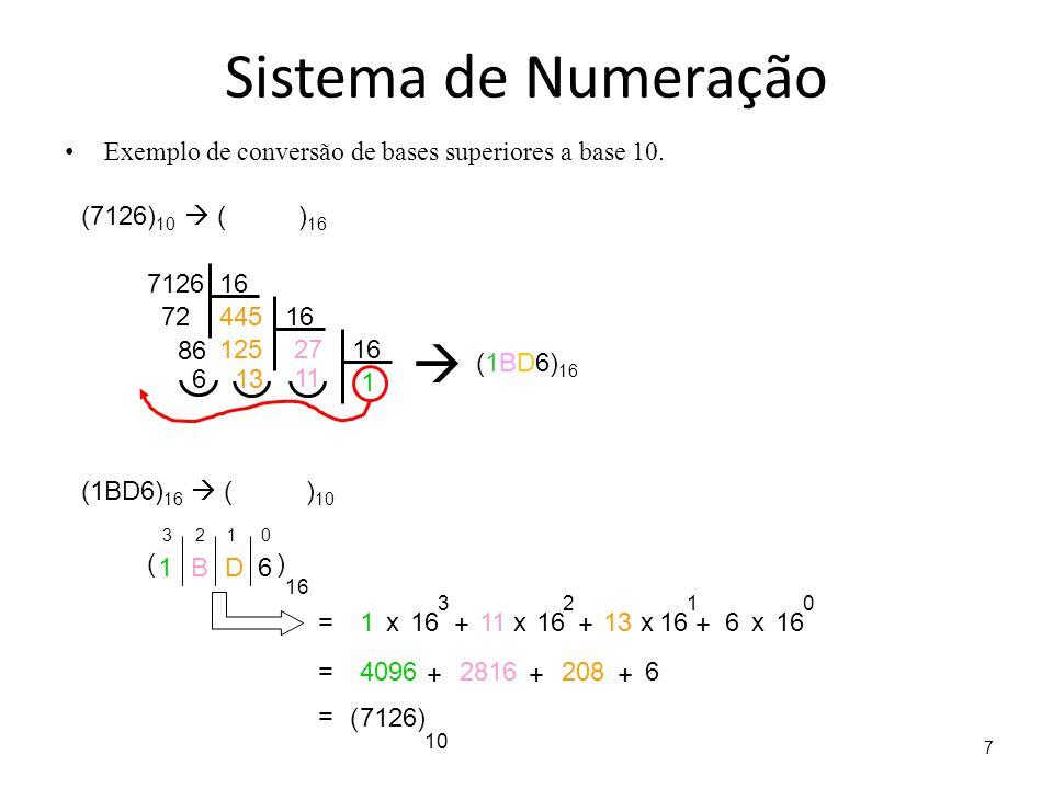 Sistema de Numeração Exemplo de conversão de bases superiores a base 10. (7126)10  ( )16.