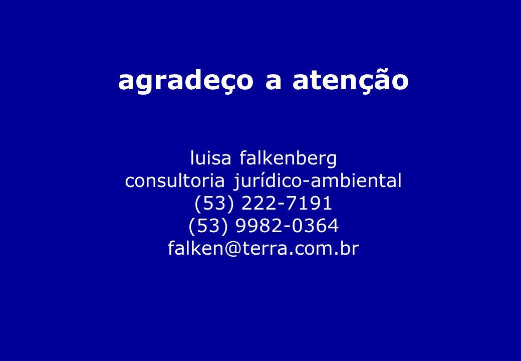 agradeço a atenção luisa falkenberg consultoria jurídico-ambiental (53) 222-7191 (53) 9982-0364 falken@terra.com.br
