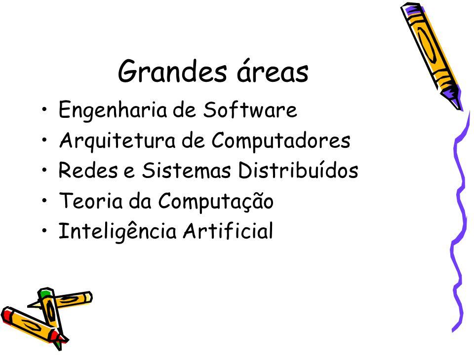 Grandes áreas Engenharia de Software Arquitetura de Computadores