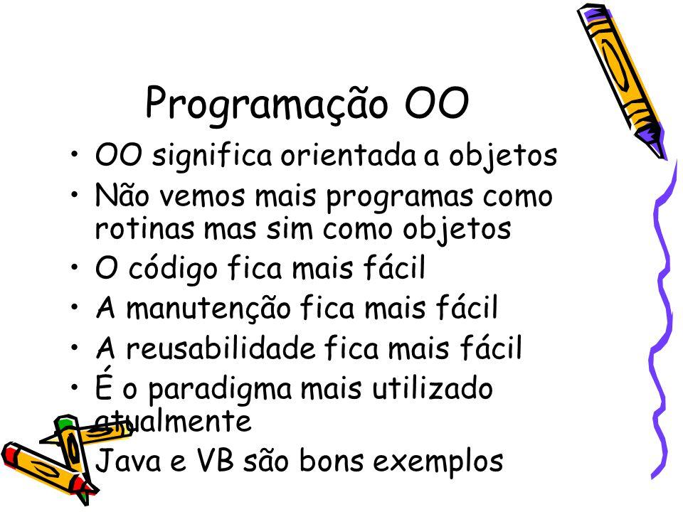 Programação OO OO significa orientada a objetos