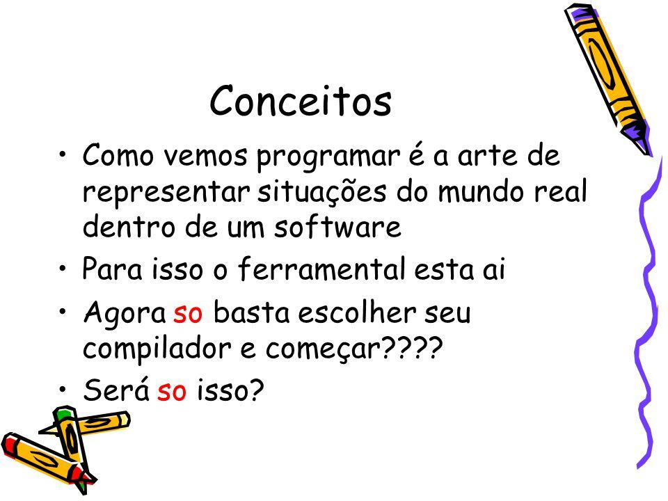 Conceitos Como vemos programar é a arte de representar situações do mundo real dentro de um software.