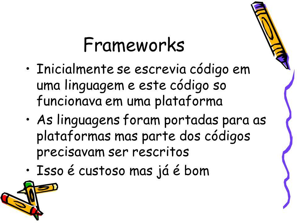 Frameworks Inicialmente se escrevia código em uma linguagem e este código so funcionava em uma plataforma.