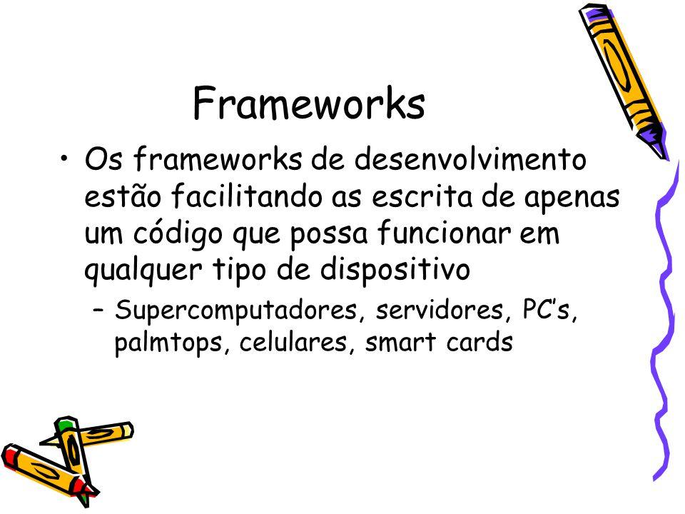 Frameworks Os frameworks de desenvolvimento estão facilitando as escrita de apenas um código que possa funcionar em qualquer tipo de dispositivo.