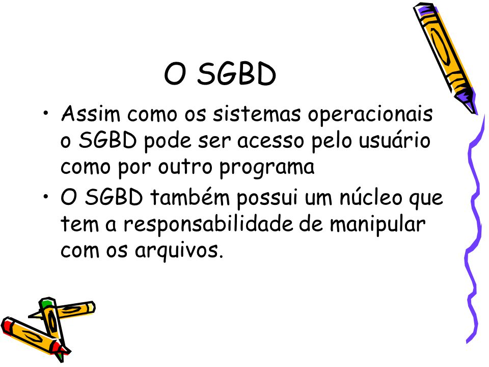 O SGBD Assim como os sistemas operacionais o SGBD pode ser acesso pelo usuário como por outro programa.