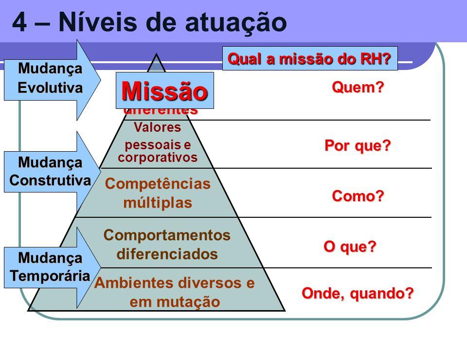 4 – Níveis de atuação Missão Qual a missão do RH PAPEIS Quem