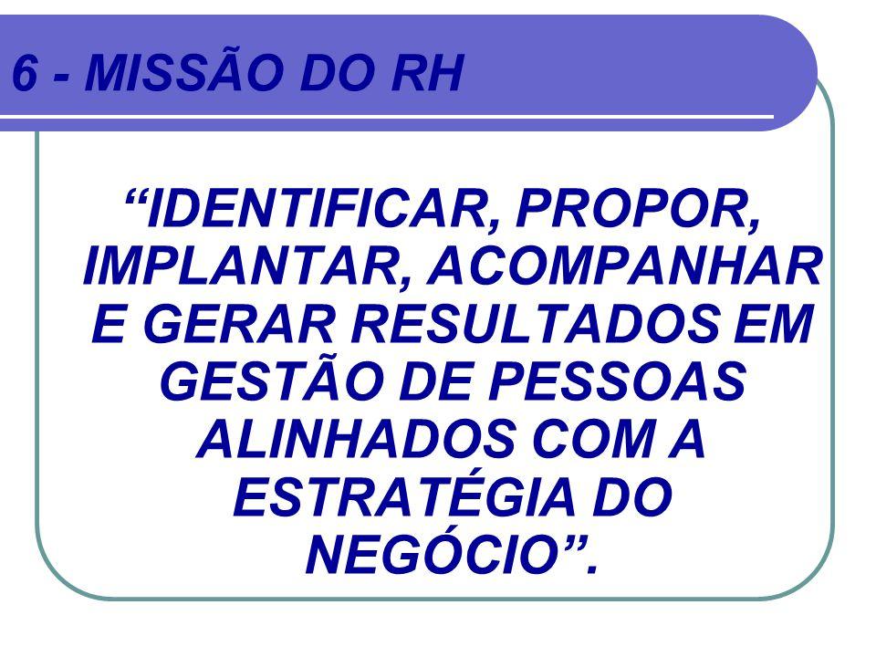 6 - MISSÃO DO RH IDENTIFICAR, PROPOR, IMPLANTAR, ACOMPANHAR E GERAR RESULTADOS EM GESTÃO DE PESSOAS ALINHADOS COM A ESTRATÉGIA DO NEGÓCIO .