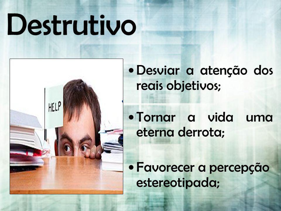 Destrutivo Desviar a atenção dos reais objetivos;