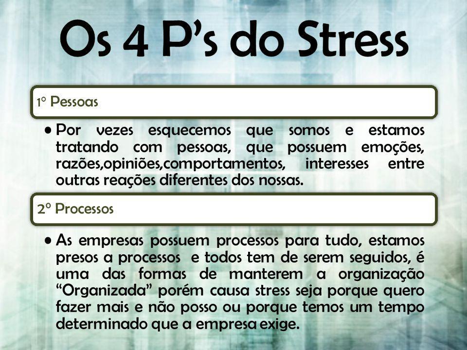 Os 4 P's do Stress 2° Processos 1° Pessoas