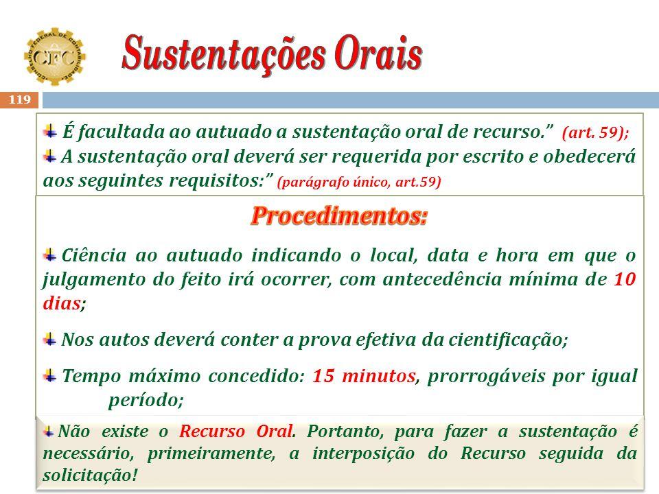 Sustentações Orais Procedimentos: