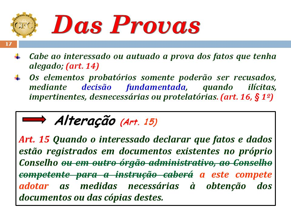 Das Provas Cabe ao interessado ou autuado a prova dos fatos que tenha alegado; (art. 14)