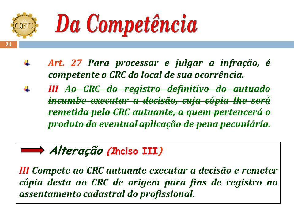 Da Competência Art. 27 Para processar e julgar a infração, é competente o CRC do local de sua ocorrência.
