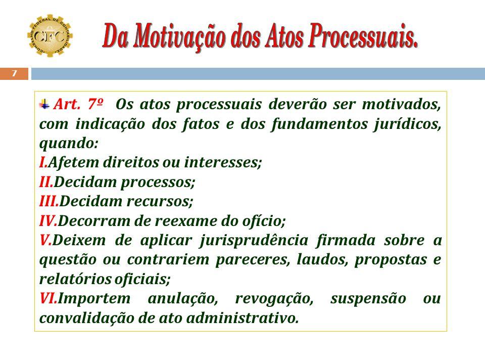 Da Motivação dos Atos Processuais.
