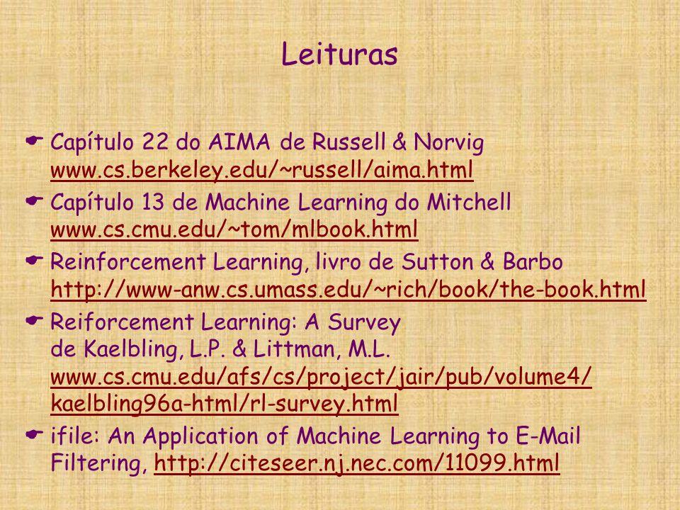 Leituras Capítulo 22 do AIMA de Russell & Norvig www.cs.berkeley.edu/~russell/aima.html.