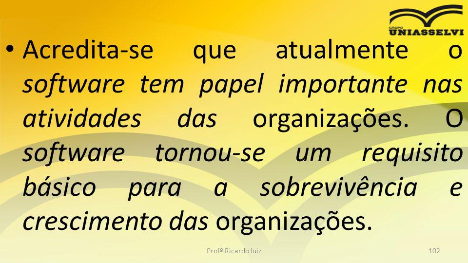Acredita-se que atualmente o software tem papel importante nas atividades das organizações. O software tornou-se um requisito básico para a sobrevivência e crescimento das organizações.