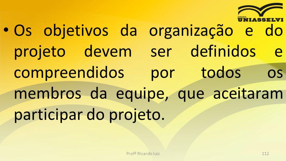 Os objetivos da organização e do projeto devem ser definidos e compreendidos por todos os membros da equipe, que aceitaram participar do projeto.