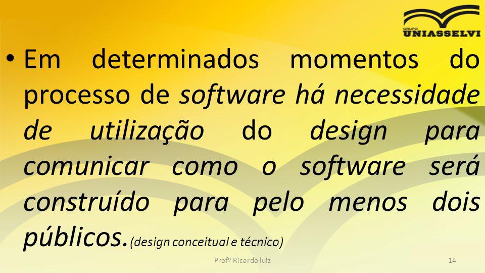 Em determinados momentos do processo de software há necessidade de utilização do design para comunicar como o software será construído para pelo menos dois públicos.(design conceitual e técnico)