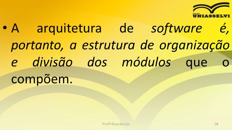 A arquitetura de software é, portanto, a estrutura de organização e divisão dos módulos que o compõem.