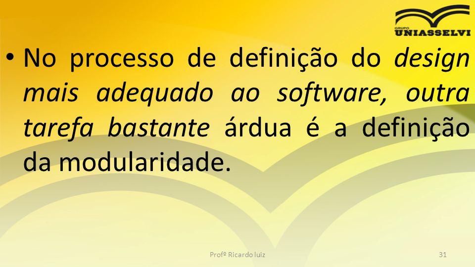 No processo de definição do design mais adequado ao software, outra tarefa bastante árdua é a definição da modularidade.