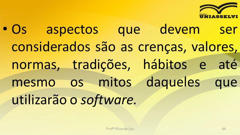 Os aspectos que devem ser considerados são as crenças, valores, normas, tradições, hábitos e até mesmo os mitos daqueles que utilizarão o software.