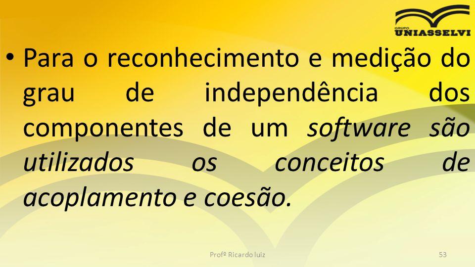Para o reconhecimento e medição do grau de independência dos componentes de um software são utilizados os conceitos de acoplamento e coesão.
