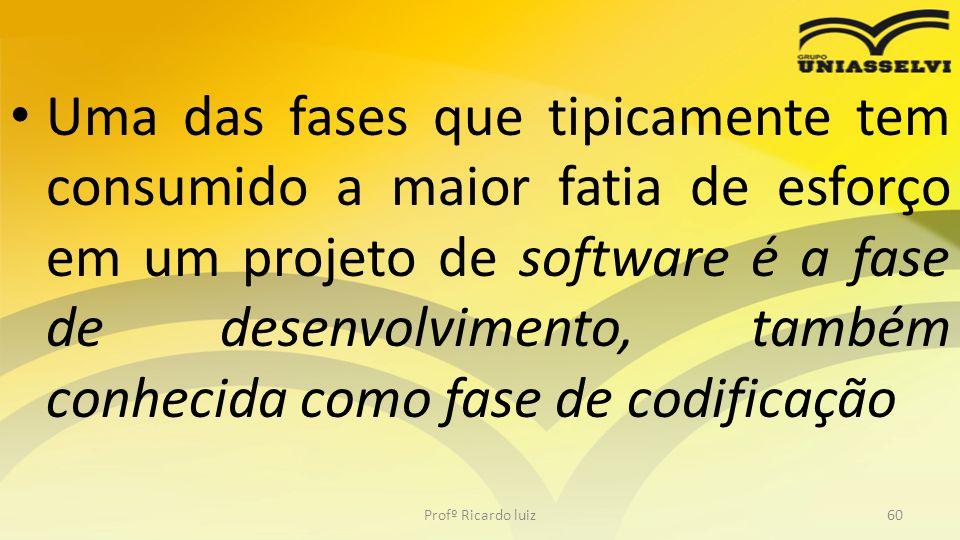 Uma das fases que tipicamente tem consumido a maior fatia de esforço em um projeto de software é a fase de desenvolvimento, também conhecida como fase de codificação