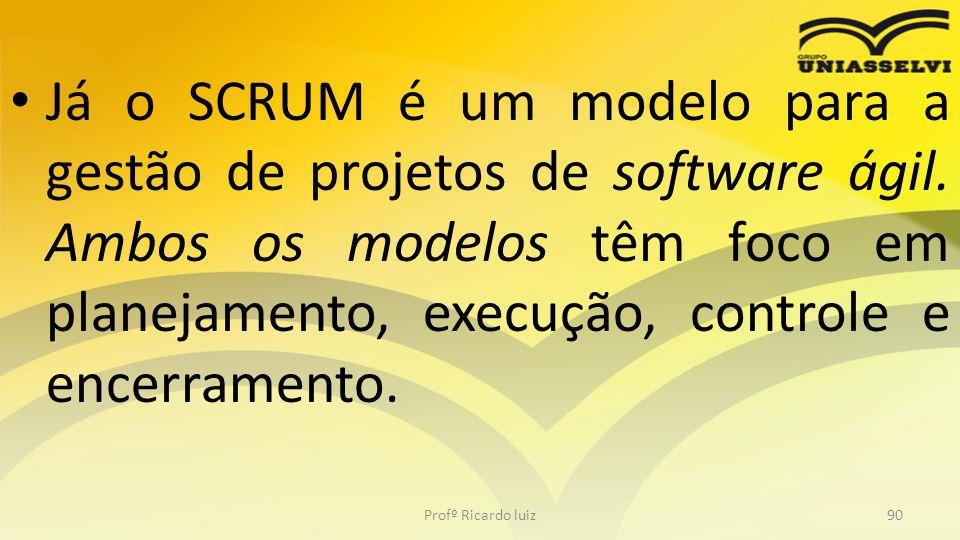 Já o SCRUM é um modelo para a gestão de projetos de software ágil