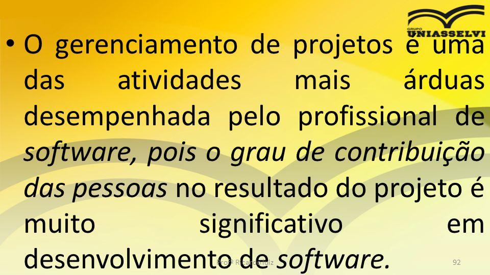 O gerenciamento de projetos é uma das atividades mais árduas desempenhada pelo profissional de software, pois o grau de contribuição das pessoas no resultado do projeto é muito significativo em desenvolvimento de software.