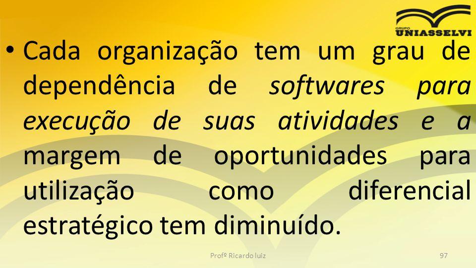 Cada organização tem um grau de dependência de softwares para execução de suas atividades e a margem de oportunidades para utilização como diferencial estratégico tem diminuído.