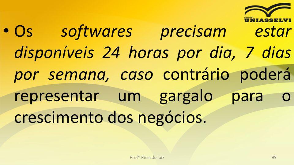 Os softwares precisam estar disponíveis 24 horas por dia, 7 dias por semana, caso contrário poderá representar um gargalo para o crescimento dos negócios.