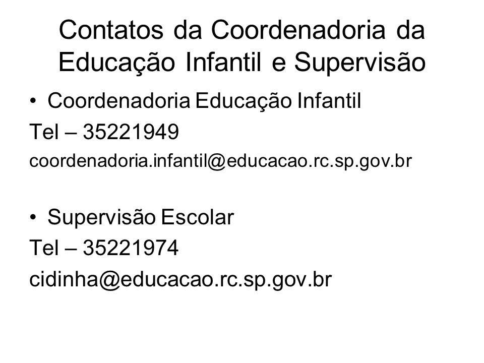 Contatos da Coordenadoria da Educação Infantil e Supervisão