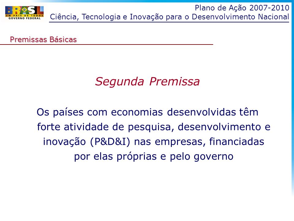 Plano de Ação 2007-2010 Ciência, Tecnologia e Inovação para o Desenvolvimento Nacional. Premissas Básicas.