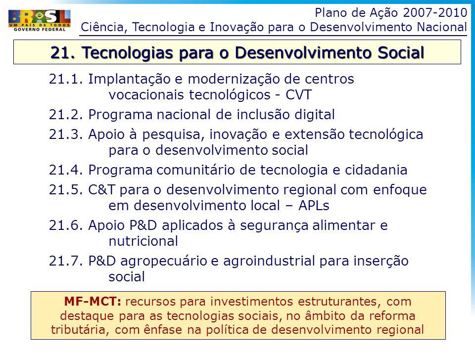 21. Tecnologias para o Desenvolvimento Social