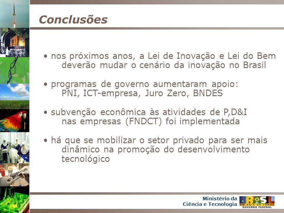 Conclusões nos próximos anos, a Lei de Inovação e Lei do Bem