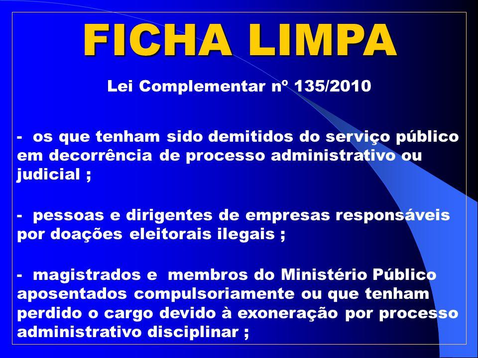 FICHA LIMPA Lei Complementar nº 135/2010