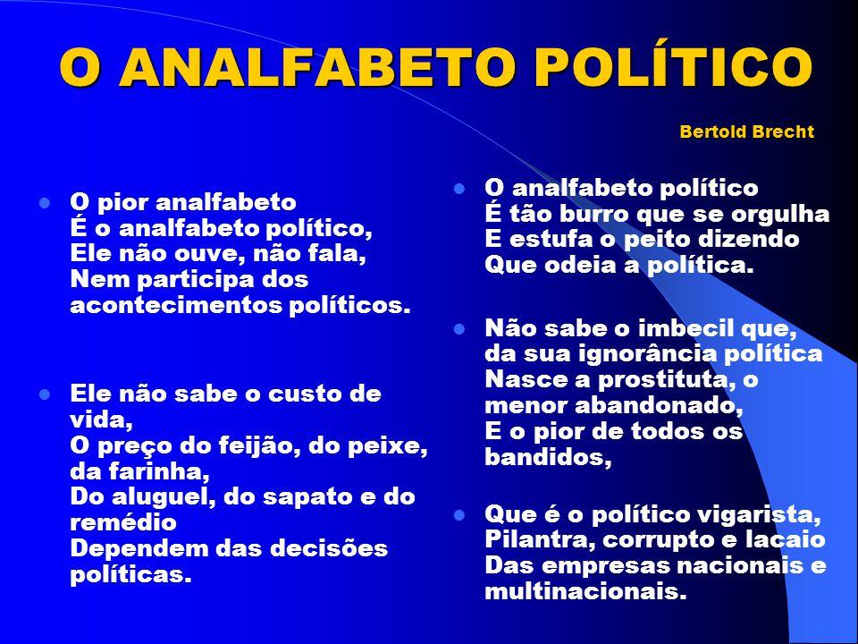 O ANALFABETO POLÍTICO Bertold Brecht