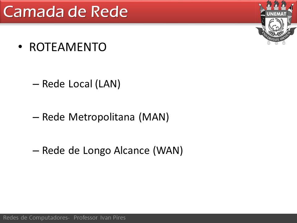 Camada de Rede ROTEAMENTO Rede Local (LAN) Rede Metropolitana (MAN)