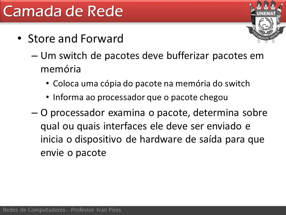 Camada de Rede Store and Forward