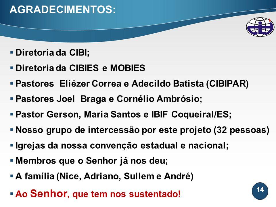 AGRADECIMENTOS: Diretoria da CIBI; Diretoria da CIBIES e MOBIES