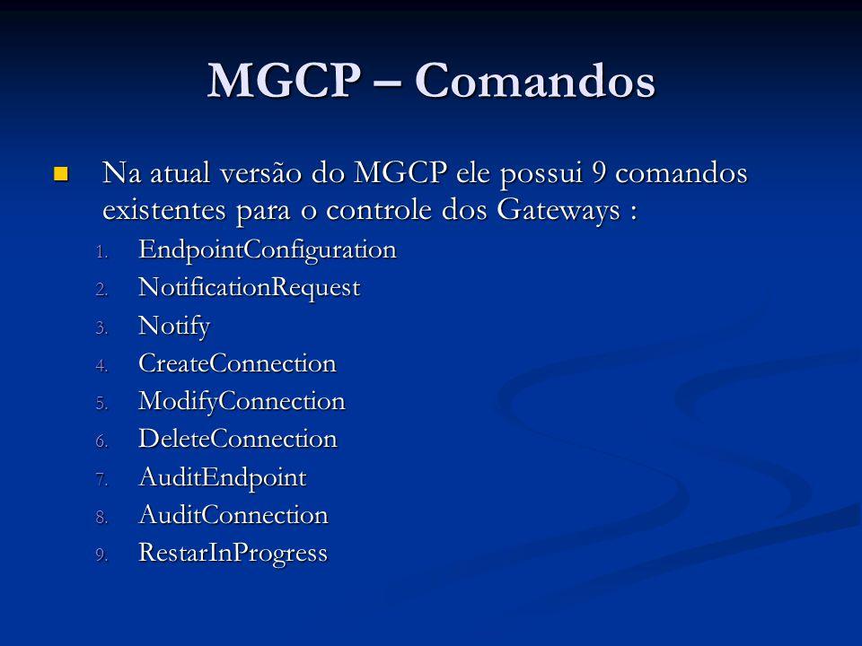 MGCP – Comandos Na atual versão do MGCP ele possui 9 comandos existentes para o controle dos Gateways :