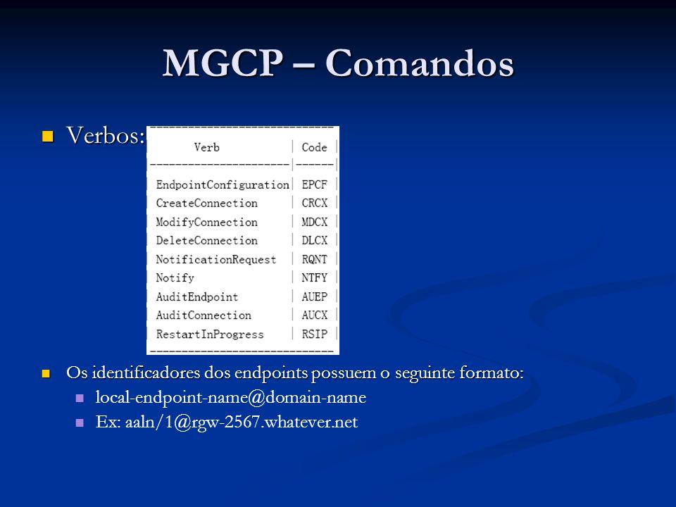 MGCP – Comandos Verbos: