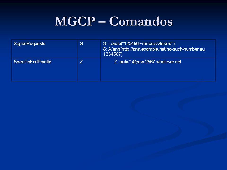 MGCP – Comandos SignalRequests S S: L/adsi( 123456 Francois Gerard )